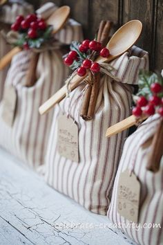 Cookie Mix Packaging Idea! Pack a satchel of dry mix, include the recipe and adorn with cinnamon sticks, berries and a wooden spoon.