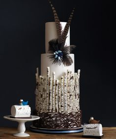 Spiced ginger cake with dark maple and cinnamon buttercream, decorated with edible birch trees and birds' nest. 3,000$.    Mini birch logs made with chocolate-hazelnut cake, chocolate ganache and toasted hazelnuts. 150$ each. The Cake Museum, 647-464-2294, thecakemuseum.ca.