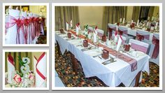 Burgundy colour schemed venue dressing. Burgundy organza chair sashes. You can hire venue dressing like this at Natalija.Co Event Planning, find us on facebook, or visit our website, www.natalija.co.uk