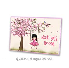 Cherry Blossom tree personalized door sign  kids room by jolinne, $19.00