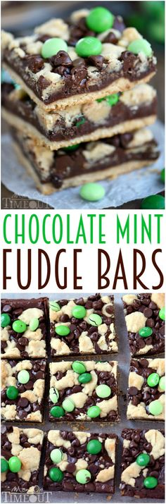 Indulge in these outrageously decadent Chocolate Mint Fudge Crumb Bars for the ultimate chocolate and mint treat!   MomOnTimeout.com   #recipe #dessert #chocolate #mint