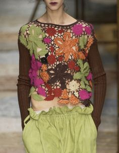 Discover thousands of images about Antonio Marras Fall 2002 Freeform Crochet, Irish Crochet, Crochet Lace, Crochet Shirt, Crochet Fashion, Crochet Designs, Mode Inspiration, Crochet Clothes, Fashion 2020
