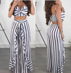 Fabulous Gray Stripes Pant Skirt With Off Shoulder Crop Top Dglam_onlineshop Summer Outfits, Cute Outfits, Summer Dresses, Maxi Styles, White Maxi Dresses, Skirt Pants, Striped Dress, Pants For Women, Fashion Outfits