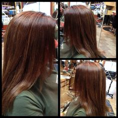 Dark/Medium  Natural level 4.5 with 50% gray, level 5 golden brown red as base for a rich auburn tone, added level 6 cool gold lowlights throughout faded ends for tonal contrast