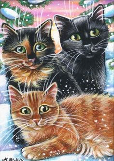 Cats Winter Christmas Painting