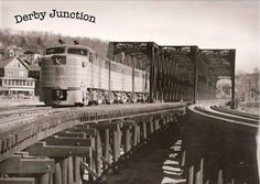 The New Haven RR triple trestle at Derby Junction. The trestles carried the tracks from the east bank of the Housatonic River to the Derby Depot passenger station along the west bank of the Naugatuck River to Ansonia Railroad Bridge, Railroad Tracks, Railroad Pictures, Train Pictures, Diesel Locomotive, Train Tracks, Brooklyn Bridge, Time Travel, Derby
