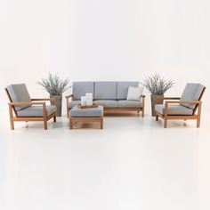 Our St. Tropez Collection of outdoor furniture is made of Grade-A teak and includes complimentary Sunbrella® cushions. It's modern and traditional, with style and grace.