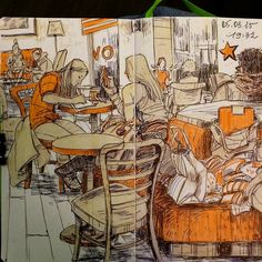 Na(net)ta's Sketchbooks. - Cafe sketches today. (Including some silly...
