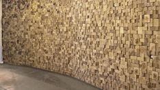 Pioneer Millworks l In Rochester New York, the Village Gate has a curving wall paneled with endcuts from reclaimed Poplar timbers. Interior Architecture, Interior And Exterior, Ceiling Finishes, Timber Screens, Parquet Flooring, Recycled Wood, Wall Treatments, Wooden Walls, Textured Walls