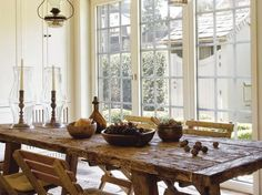 Love the farmhouse look... our table would work nicely here.. and there are nice big windows and a skylight in the dining room.