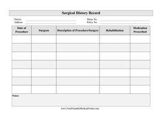 printable medical history form