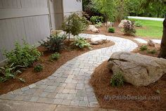 Ppathway to the backyard.love the curves and the second pathway Natural Landscaping, Home Landscaping, Front Yard Landscaping, Brick Sidewalk, Garden Inspiration, Garden Ideas, Patio Ideas, Outdoor Ideas, Outdoor Decor