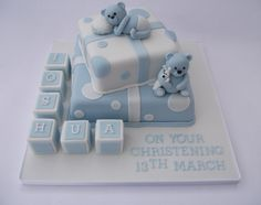 Boys Blue Bear and Building Blocks Christening Cake