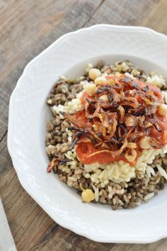 egyptian koshari - lentils, rice and pasta