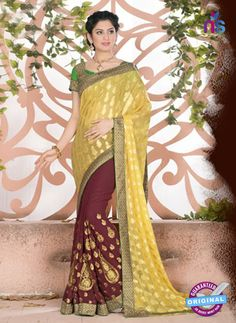 c677249ee5b3b SC 13070 Yellow and Maroon Jacquard and Georgette Party Wear Designer Saree  Buy Designer Sarees Online