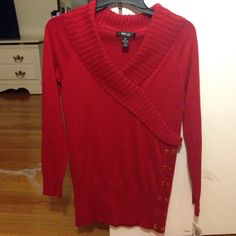 NWT Style & Co red amore sweater New with tags attached.  Great color!  60% cotton and 40% polyester.   Very soft. Style & Co Sweaters V-Necks