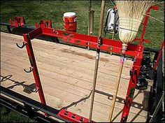 Hand Tool Rack Landscaper trailers Storage TrimmerTrap HT-1 Accessory Hand Tool #TrimmerTrap Landscaping Equipment, Lawn Equipment, Backyard Landscaping, Outdoor Power Equipment, Lawn Trailer, Work Trailer, Utility Trailer, Trailer Organization, Trailer Storage