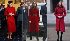 Kate first wore this striking LK Bennett red coat to visit the UNICEF center in Denmark in 2011, center, cinched with a leather belt. The coat's next appearance was two years later when the Duchess accompanied her husband to celebrate Remembrance Day, right, with her hair in glamorous waves. In February 2015 the classic piece got another showing during a visit to an Air Force base in Wales, a pillbox hat and black pumps giving it a military feel.   Photo: Getty Images