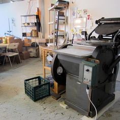 #throwbackthursday to my very first press in my very first studio in 2011.  Steel Petal Press took up 100 sqft of a shared raw artists space in a very raw warehouse.  I had room for 1 press, 1 table, a chair, and one shelving unit, and 1 person. I ran the press out of this space for almost a year before moving to another shared warehouse space (with a lot more room) in Pilsen.  3 studio moves later, we now operate in 1700 sq ft with 5 employees, 3 presses, a paper cutter and too many storage she Artists Space, Weeks Until Christmas, Letterpress, Warehouse, Shelving, Desk, Steel, Studio, Chair