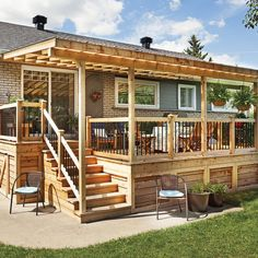 Enhance your outdoor space with design ideas for patios, decks, gardens, outdoor kitchens and bars with stunning pictures. Book + drink + cozy outdoor space = your dream come true. Mobile Home Porch, Mobile Homes, Deck Skirting, Backyard Patio Designs, Backyard Porch Ideas, Backyard Decks, Deck With Pergola, Pergola Ideas, Gazebo
