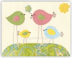 Baby girl room, nursery wall art, Love birds...pink, baby blue, green and yellow tree, flowers, love bird, match to colors of Catalina. $17.00, via Etsy.