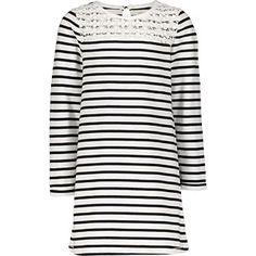 Navy & White Striped Jersey Dress