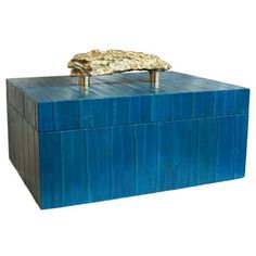 FLAIR exclusive large rectangular teal eel skin box with brass nugget handle and tobacco leather interior. Handmade in Italy #italy #box #handmade #accessories #interiordesign