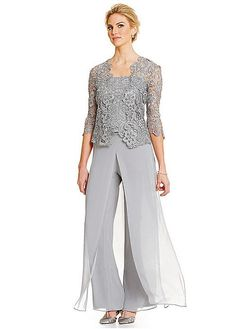Buy discount Fantastic Pant Suits Chiffon & Lace Spaghetti Straps Neckline Full-length Mother Of The Bride Dresses at Magbridal.com