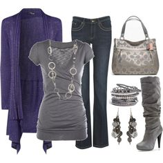 I really like the type of boot that has a heel and like, scrunches a little like the gray one here. Grey top and bag with denim jeans and a long blue cardigan. Silver jewelery.