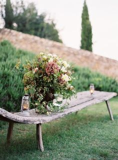I am all kinds of in love with this Tuscan wedding (slight wedding envy going on here!) It was featured on Once Wed & shot by Jose Vill. Outdoor Gardens, Beautiful Gardens, Garden Furniture, Flowers, Garden, Patio Garden, Outdoor, Flower Arrangements, Garden Bench