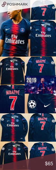 6e853a8fa Paris PSG Mbappe  7 Soccer Jersey Long Sleeve UEFA 2019 PSG Paris  Saint-Germain Kylian Mbappé  7 HOME Long Sleeve Version Brand New w  Tags  Size   Medium ...