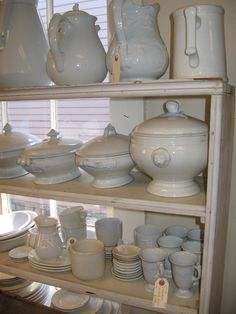 ironstone collection at scarlett scales antiques Shades Of White, Blue And White, Beautiful Bouquet Of Flowers, Cottage Kitchens, White Dishes, Butler Pantry, Simple Art, Vintage Love, Traditional House