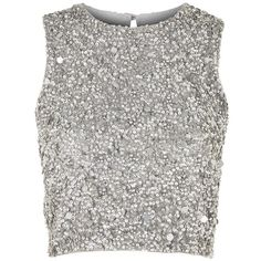Picasso Embellished Crop Top by Lace & Beads ($71) ❤ liked on Polyvore featuring tops, crop top, silver, blouses, metallic, white top, beaded top, lace top, embellished crop top and lacy tops