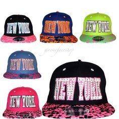 b9acdaef NY diamante snapback caps, leopard flat peak baseball hats fits kids  &adult #