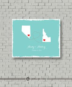 2 States Wedding Guest Book   State Guest by lemonANDlimeStudio, $40.00