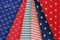 Red & navy blue marine cotton fabric set / Zestaw marynarski