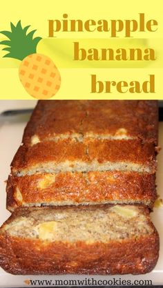 A delicious pineapple banana bread recipe that is easy to make and such a moist bread. This banana and pineapple bread is the perfect snack, breakfast, or even a light dessert! It's easy to make, but oh-so-tasty. Pineapple Banana Bread Recipe, Best Banana Bread, Banana Bread Recipes, Fresh Pineapple Recipes, Recipes With Bananas, Delicious Desserts, Yummy Food, Tasty, Dessert Bread