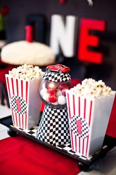 Popcorn containers with Corvette logo for a Retro Cars Party Birthday Party Ideas | Photo 19 of 38 | Catch My Party