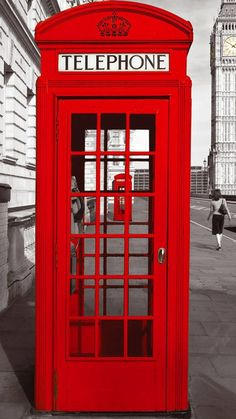 England City Street Red Telephone Booth #iPhone #6 #plus #wallpaper