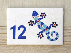 Mosaic House Number Plaque Outdoor Wall Number by jenzartcreations