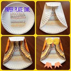 Fall Kids Craft: Paper Plate Owl: