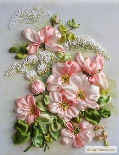Wonderful Ribbon Embroidery Flowers by Hand Ideas. Enchanting Ribbon Embroidery Flowers by Hand Ideas. Ribbon Embroidery Tutorial, Silk Ribbon Embroidery, Crewel Embroidery, Embroidery Patterns, Embroidery Thread, Handkerchief Embroidery, Embroidery Online, Embroidery Bracelets, Machine Embroidery
