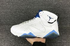 detailed look f1d2b 260a0 Air Jordan 7 French Blue For Sale, The Air Jordan 7 French Blue comes with  premium tumbled leather in white while they are accented with french blue,  ...