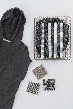 YAYA SS'16 | MAY'S FAVORITES | FLATLAY #YAYASS16 #Maysfavorites #Summer #Flatlay #Hoodedknit #Tiles #Wirebasket #Candles