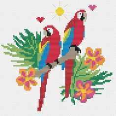 Ideas Embroidery Modern Pattern Colour For 2019 Cute Cross Stitch, Cross Stitch Bird, Beaded Cross Stitch, Cross Stitching, Cross Stitch Embroidery, Simple Embroidery Designs, Embroidery Patterns, Modern Embroidery, Modern Cross Stitch Patterns