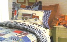 Pottery Barn Kids Henry Twin Quilt New Trucks Cranes Busy