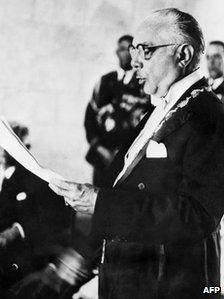 Rafael Trujillo, who was in power from 1930-1961, in a file photo from 1955