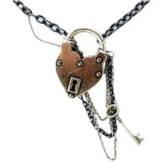 Disney Couture Disney Couture Heart lock and key chain necklace ($39) ❤ liked on Polyvore featuring jewelry, necklaces, steampunk, accessories, hearts, women, chain statement necklace, heart pendant necklace, heart necklace and heart chain necklace