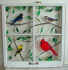 Stained glass bird inserts in an old window; or you could paint this on a window Stained Glass Door, Stained Glass Birds, Stained Glass Panels, Stained Glass Projects, Stained Glass Patterns, Painted Window Panes, Window Frames, Old Window Crafts, Painting On Glass Windows