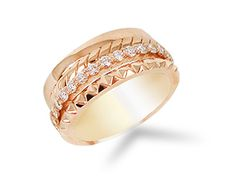 Penny Preville Set Of Four Bands, Fashioned in 18K Rose Gold, Featuring One Plain Band, Two Engraved Bands and One Diamond Eternity Band with Thirty-One Round Diamonds =.80cts Total Weight
